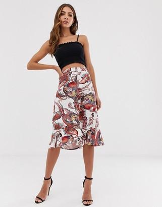 B.young paisley uneven hem skirt