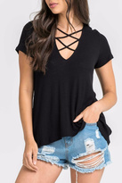 Lush Crisscross V Neck Top