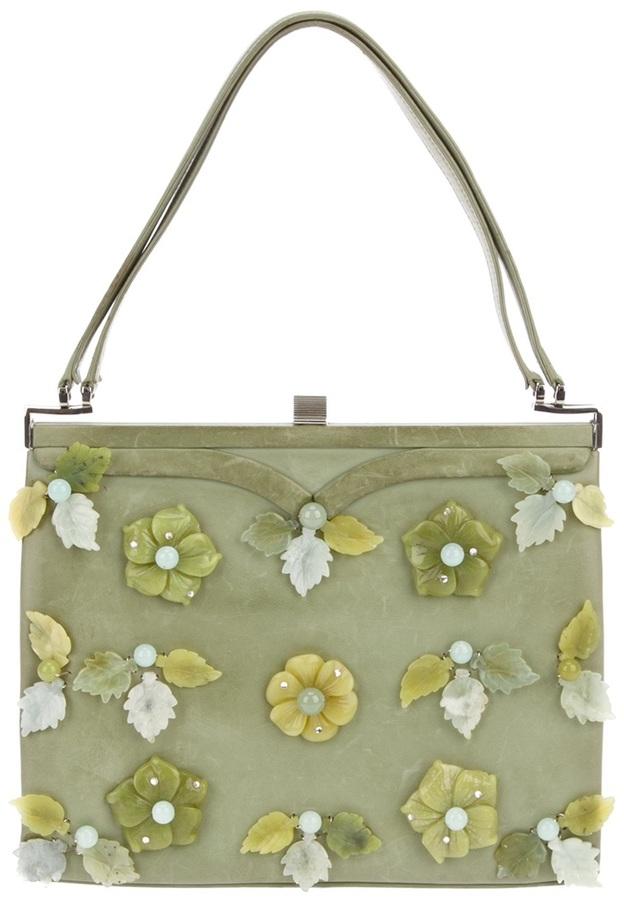 Cecilia Vintage flower appliqué bag