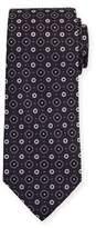 Eton Woven Flower Medallion Silk Tie, Brown