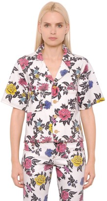 House of Holland Rose Printed Cotton Denim Shirt