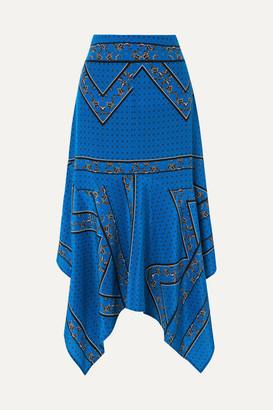 Ganni Asymmetric Silk Crepe De Chine Midi Skirt - Cobalt blue
