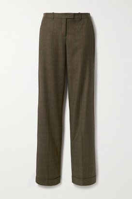 Michael Kors Collection Checked Wool Straight-leg Pants - Army green