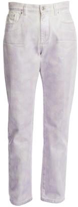 MSGM Iridescent High-Rise Straight-Leg Jeans