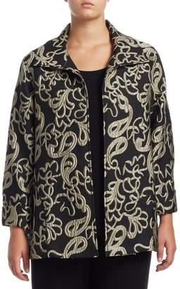 Caroline Rose Caroline Rose, Plus Size Paisley Cloque Jacket