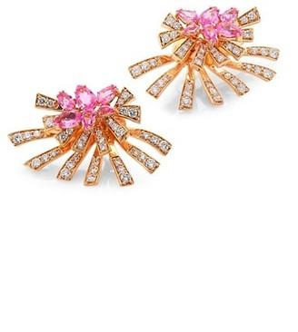 Hueb Mirage Diamond & Pink Sapphire Stud & Ear Jacket Set