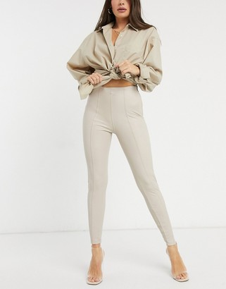 New Look leather look leggings in cream