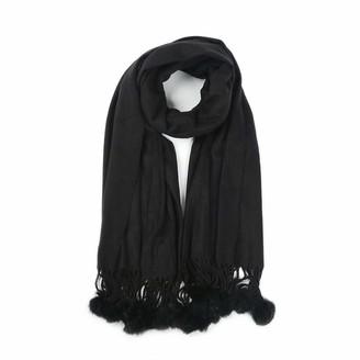 Warm Smile Women Ladies Fashion Vintage Plain Fur Pom Pom Wool Scarf Check Shawl Wrap UK (Black)