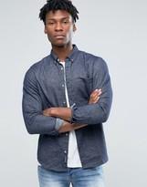 Pull&Bear Denim Shirt In Dark Wash Blue In Regular Fit