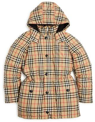 Burberry Girls' Vintage Check Down-Filled Hooded Puffer Jacket - Little Kid, Big Kid