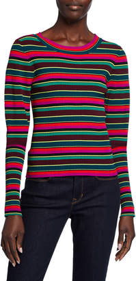 Milly Striped Puff-Sleeve Rib Sweater