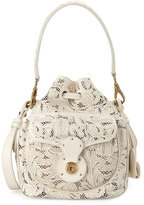 Ralph Lauren Mini Ricky Lace-Cut Leather Bucket Bag, Cream
