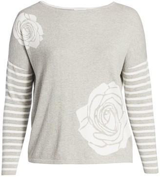 Joan Vass, Plus Size Classic-Fit Floral Intarsia Stripe Sweatshirt