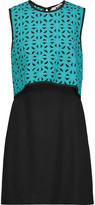 MSGM Cutout layered crochet-knit and crepe mini dress