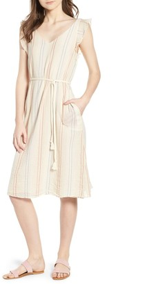Velvet Calico Stripe Belted Dress