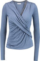 Bailey 44 Draped chain-trimmed stretch-jersey top
