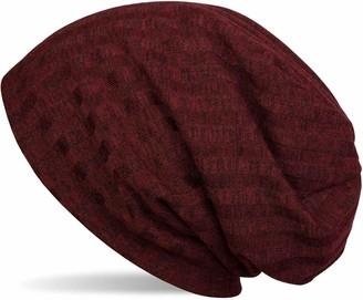 styleBREAKER Warm fine-Knit Beanie hat with Stripe Knitting Pattern and Very Soft Fleece Inner Lining Slouch Long Beanie Unisex 04024108