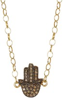 Savvy Cie 22K Gold Plated Sterling Silver Diamond Hamsa Necklace