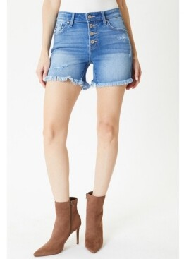 Thumbnail for your product : Kancan Women's Mid Rise Button Up Shorts