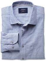 Charles Tyrwhitt Extra slim fit slub cotton blue shirt
