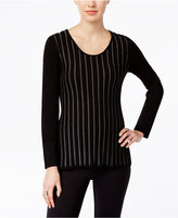 NY Collection Petite Metallic-Stripe Sweater