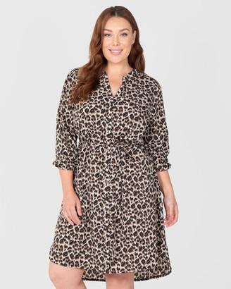 2-Way Animal Print Shirt Dress