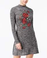 Ultra Flirt Juniors' Rose Graphic Sweater Dress