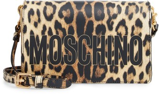Moschino Leopard Print Logo Shoulder Bag