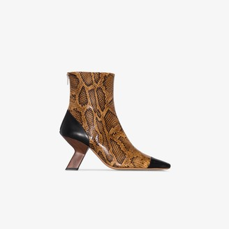 REJINA PYO Brown 80 snake print leather ankle boots