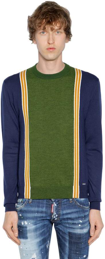 DSQUARED2 Striped Wool Knit Jacquard Sweater