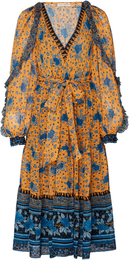 Romilly Printed Silk-Blend Chiffon Midi Dress