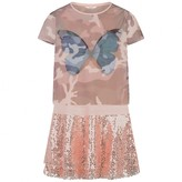 GUESS GuessPeach Butterfly Dress With Sequin Skirt