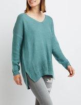 Charlotte Russe Textured V-Neck Sweater