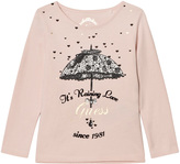 GUESS Pale Pink Umbrella Print T-Shirt with Glitter Tulle Back