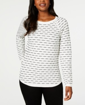 Karen Scott Plus Size Box-Stitch Sweater, Created for Macy's