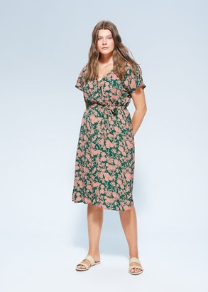 MANGO Violeta BY Belt printed dress green - 16 - Plus sizes