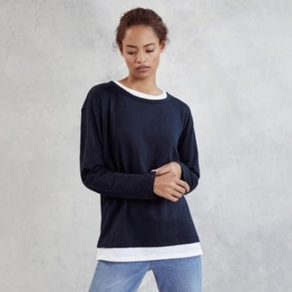 The White Company Cotton Jersey Double Layer T-Shirt, Navy, 6