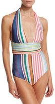 Missoni Mare Striped Halter One-Piece Swimsuit, Multicolor