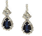 Cezanne Framed Pear-Drop Montana Sapphire and Rhinestone Sparkle-Accented Statement Earrings