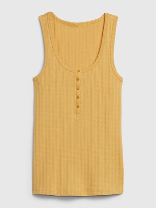 Gap Sleeveless Ribbed Henley Top
