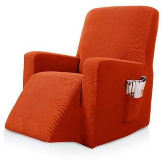Subrtex Stretch Recliner Chair Slipcover Furniture Protector Lazy Boy Covers for Leather and Fabric Recliner Sofa with Side Pocket (Recliner, Orange)