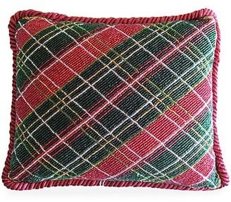 Sudha Pennathur Tartan Beaded Hand Embroidered Pillow