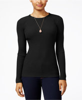 Hooked Up by IOT Juniors' Rib-Knit Zip-Back Sweater