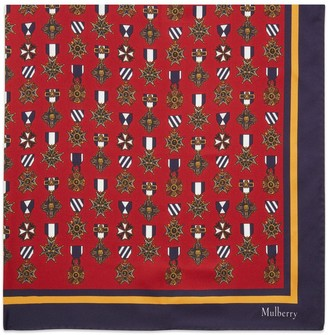 Mulberry Medallion Square Scarlet Silk Twill
