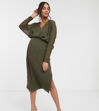 ASOS DESIGN Maternity slouchy midi dress with blouson sleeve in Khaki
