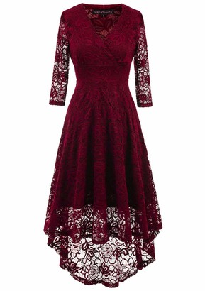 Alieyaes Women Lace Dress Vintage 50's Retro Floral Deep V Neck 3/4 Long Sleeves Hi-Low Party Cocktail Evening Midi Swing Dress Wine Red