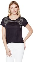 GUESS Short-Sleeve Embellished Tee