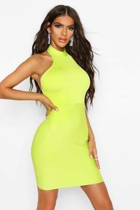 boohoo Boutique Contouring High Neck Bandage Mini Dress