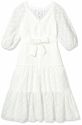 Donna Morgan Women's Petite 3/4 Sleeve Textured Clip Dot Midi Dress