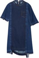 Sacai Asymmetric Frayed Denim Mini Dress - Mid denim